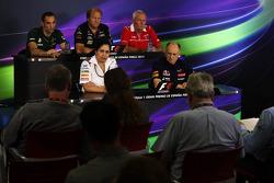 The FIA Press Conference: Cyril Abiteboul, Caterham F1 Team Principal; Robin Frijns, Caterham CT05 Test and Reserve Driver; John Booth, Marussia F1 Team Team Principal; Monisha Kaltenborn, Sauber Team Principal; Franz Tost, Scuderia Toro Rosso Team Princi