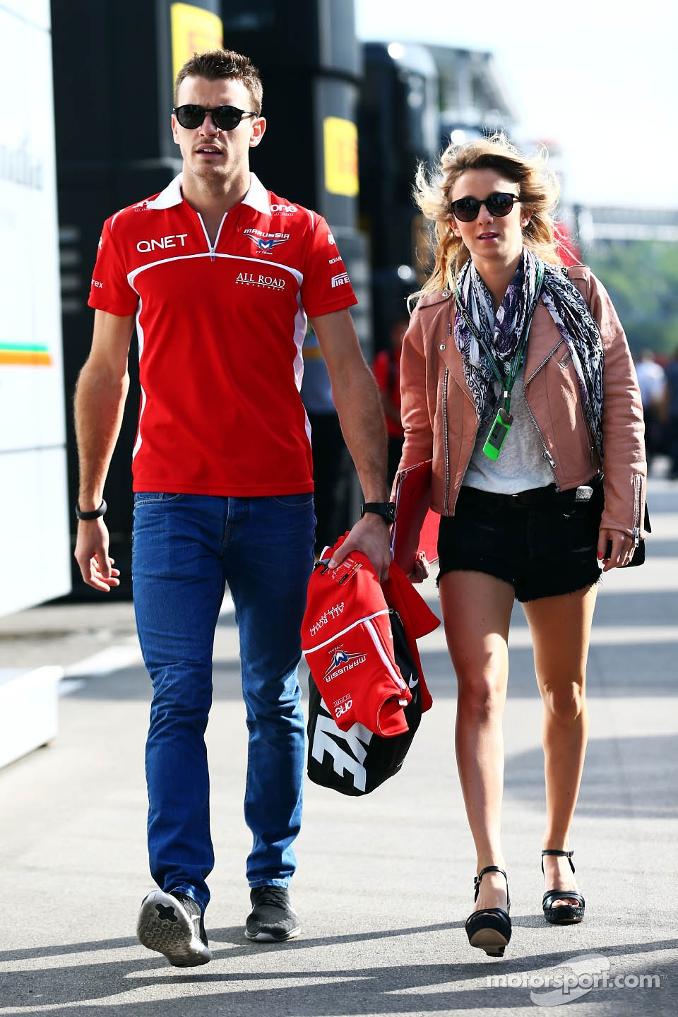 jules bianchi marussia f1 team with his girlfriend camille marchetti formula 1 photos main. Black Bedroom Furniture Sets. Home Design Ideas