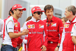 (L to R): Marc Gene, Ferrari Test Driver with Fernando Alonso, Ferrari