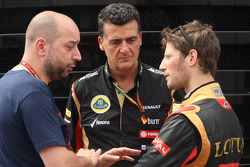(L to R): Gerard Lopez, Lotus F1 Team Principal with Federico Gastaldi, Lotus F1 Team Deputy Team Principal and Romain Grosjean, Lotus F1 Team