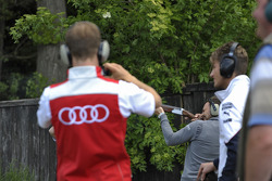 Skeet Shooting with Mattias Ekstrom, Audi Sport Team Abt Sportsline, Audi RS 5 DTM, Marco Wittmann, BMW Team RMG, BMW M4 DTM, and Gary Paffett, EURONICS Mercedes AMG,