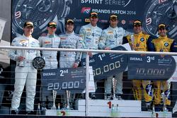 Podium: race winners Hari Proczyk, Jeroen Bleekemolen, second place Maximilian Buhk, Maximilian Götz, third place Sergio Jimenez, Caca Bueno