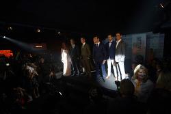 The drivers at the Amber Lounge Fashion Show, Scuderia Toro Rosso; Daniil Kvyat, Scuderia Toro Rosso; Max Chilton, Marussia F1 Team; Daniel Ricciardo, Red Bull Racing; Adrian Sutil, Sauber; Esteban Gutierrez, Sauber