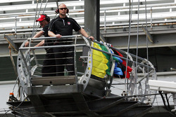 Tom Hansing, flag man for the Indy 500