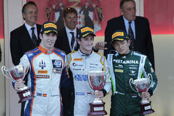 Podium: race winner Stephane Richelmi, second place Sergio Canamasas, third place Rio Haryanto