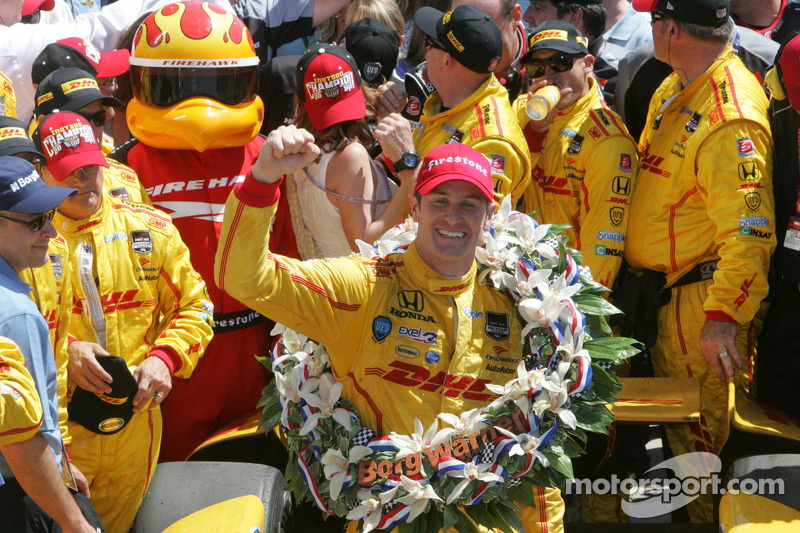 Ryan Hunter-Reay of Andretti Auto Sport celebrates in Victory Circle after winning the 98th Running of the Indianapolis 500 Mile Race.