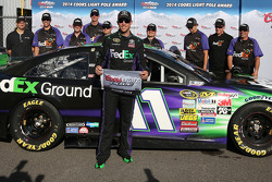 Denny Hamlin celebrates pole