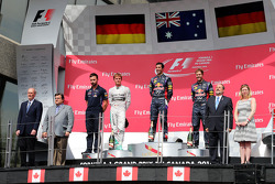 Daniel Ricciardo, Nico Rosberg and Sebastian Vettel on the podium
