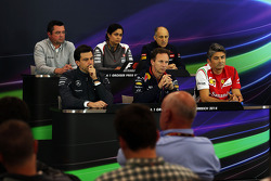 The FIA Press Conference, McLaren Racing Director; Monisha Kaltenborn, Sauber Team Principal; Franz Tost, Scuderia Toro Rosso Team Principal; Toto Wolff, Mercedes AMG F1 Shareholder and Executive Director; Christian Horner, Red Bull Racing Team Principal;