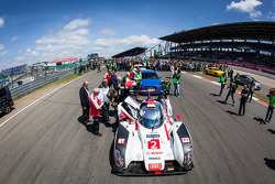 Audi R18 winner of the 2014 24 Hours of Le Mans on the starting grid