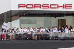 Porsche fans watch the race conclude