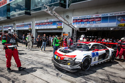 Pit stop for #4 Phoenix Racing Audi R8 LMS ultra: Christopher Haase, Christian Mamerow, René Rast, Markus Winkelhock