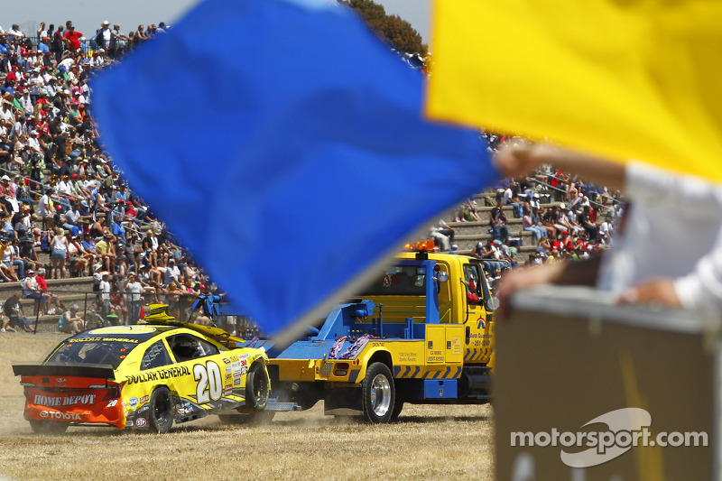 The crashed car of Matt Kenseth, Joe Gibbs Racing Toyota