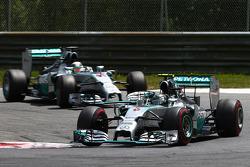 Nico Rosberg, Mercedes AMG F1 W05 leads Lewis Hamilton, Mercedes AMG F1