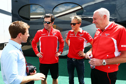 Anthony Davidson, with Marc Hynes, Marussia F1 Team Driver Coach; Max Chilton, Marussia F1 Team; and John Booth, Marussia F1 Team Team Principal