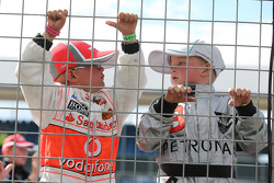 Young McLaren and Mercedes AMG F1 fans