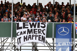 Banners by fans for Lewis Hamilton, Mercedes AMG F1