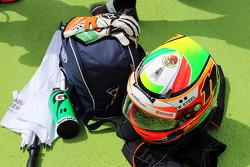The helmet of Sergio Perez, Sahara Force India F1 on the grid