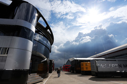 McLaren motorhome in the paddock