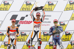 Podium: race winner Marc Marquez, second place Dani Pedrosa, third place Jorge Lorenzo