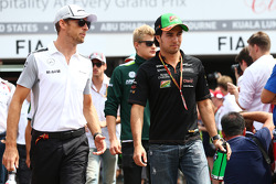 (L to R): Jenson Button, McLaren and Sergio Perez, Sahara Force India F1 on the drivers parade