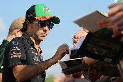F1: Sergio Perez, Sahara Force India F1 signs autographs for the fans