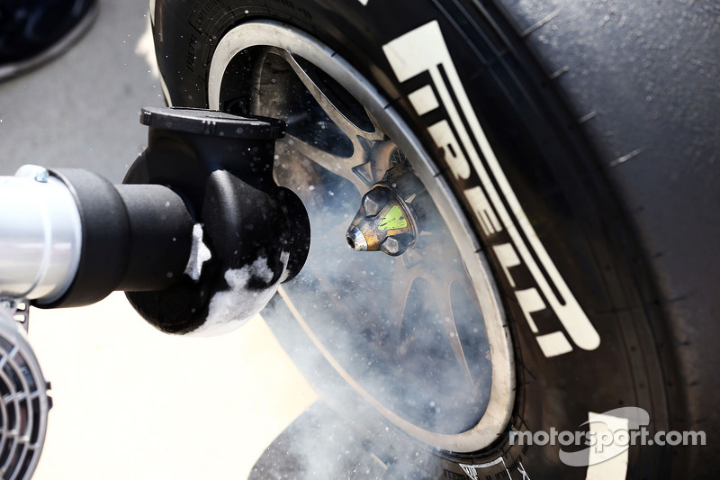 Red Bull Racing RB10 Pirelli tyre sprayed with dry ice