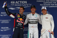 Sebastian Vettel, Nico Rosberg and Valtteri Bottas celebrate in parce ferme