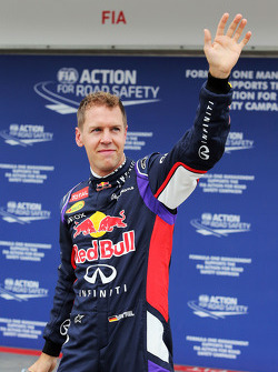 Sebastian Vettel, Red Bull Racing celebrates his second position in qualifying parc ferme