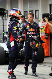 Daniel Ricciardo, Red Bull Racing and team mate Sebastian Vettel, Red Bull Racing in qualifying parc ferme