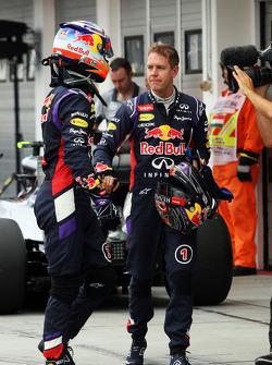F1: Daniel Ricciardo, Red Bull Racing and team mate Sebastian Vettel, Red Bull Racing in qualifying parc ferme