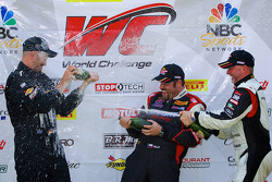 PWC: GT-A class winners champagne: Albert v T u Taxis (eft), Michael Mills (center), Jim Taggart (right)