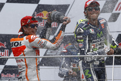 Podium: race winner Marc Marquez, third place Valentino Rossi