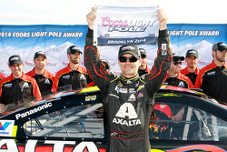 Jeff Gordon celebrates pole