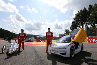 Fernando Alonso, Scuderia Ferrari and Kimi Raikkonen, Scuderia Ferrari drives a car from the Shell Eco Marathon
