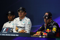 The post qualifying FIA Press Conference, Mercedes AMG F1, second; Nico Rosberg, Mercedes AMG F1, pole position; Sebastian Vettel, Red Bull Racing, third