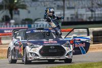 Race winner #67 Hyundai / Rhys Millen Racing Hyundai Veloster: Rhys Millen celebrates
