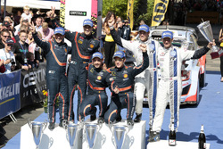 WRC: Podium: winners Thierry Neuville, Nicolas Gilsoul, second place Daniel Sordo, Marc Marti, third place Andreas Mikkelsen and Ola Floene