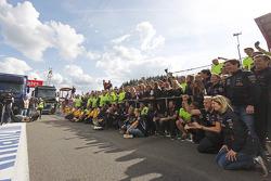 Race winner Daniel Ricciardo, Red Bull Racing celebrates with Christian Horner, the team
