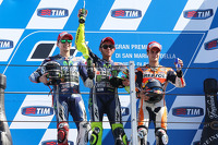 Podium: race winner Valentino Rossi, second place Jorge Lorenzo, third place Dani Pedrosa