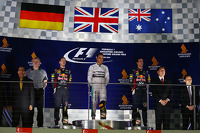 Lewis Hamilton, Mercedes AMG F1, 2nd place Sebastian Vettel, Red Bull Racing RB10 and 3rd place Daniel Ricciardo, Red Bull Racing RB10