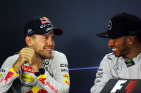 Sebastian Vettel, Red Bull Racing and Lewis Hamilton, Mercedes AMG F1 in the FIA Press Conference