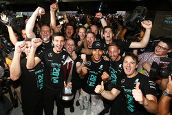 Lewis Hamilton, Mercedes AMG F1 celebrates winning the 2014 Constructors Championship with the team