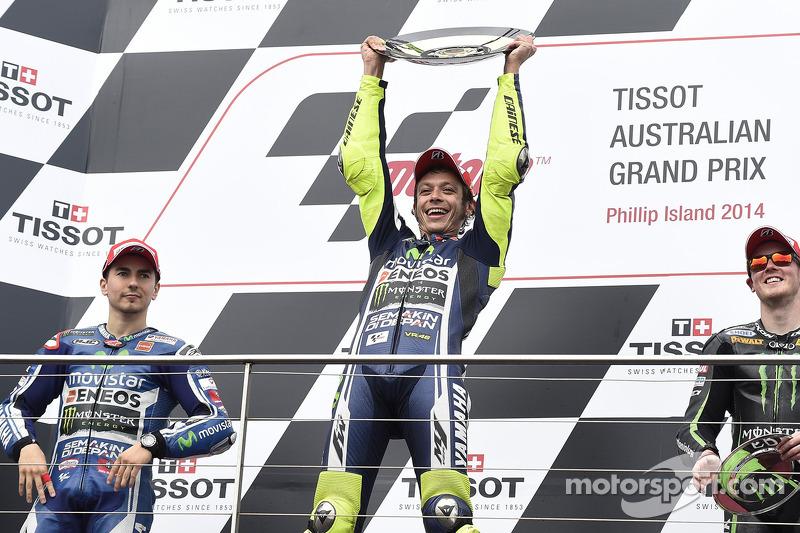 2014: 1. Valentino Rossi, 2. Jorge Lorenzo, 3. Bradley Smith
