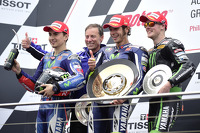 Podium: race winner Valentino Rossi, second place Jorge Lorenzo, third place Bradley Smith
