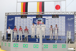 Podium: race winners Neel Jani, Romain Dumas, Marc Lieb, second place Anthony Davidson, Sebastien Buemi, third place Lucas di Grassi, Loic Duval, Tom Kristensen