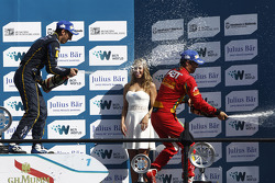 Podium: race winner Sebastien Buemi, e.dams-Renault, third place Lucas di Grassi, Audi Sport ABT