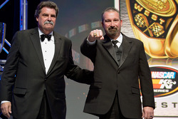 NASCAR K&N Pro Series West champion Greg Pursley gets a ring from NASCAR president Mike Helton