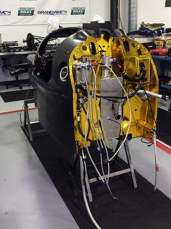 The Ligier JS P2 Honda in the Michael Shank Racing workshops