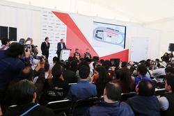 Sergio Perez, Sahara Force India F1 with Nico Hulkenberg, Sahara Force India F1 at a Press Conference